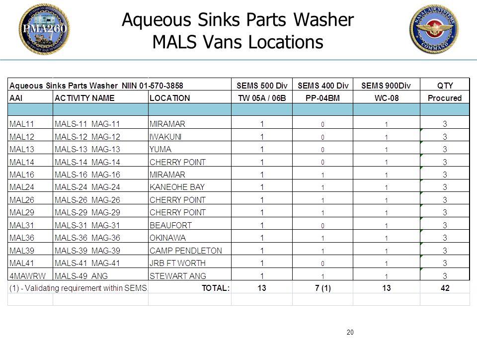CFC_1106 Aqueous Sinks Parts Washer MALS Vans Locations 20
