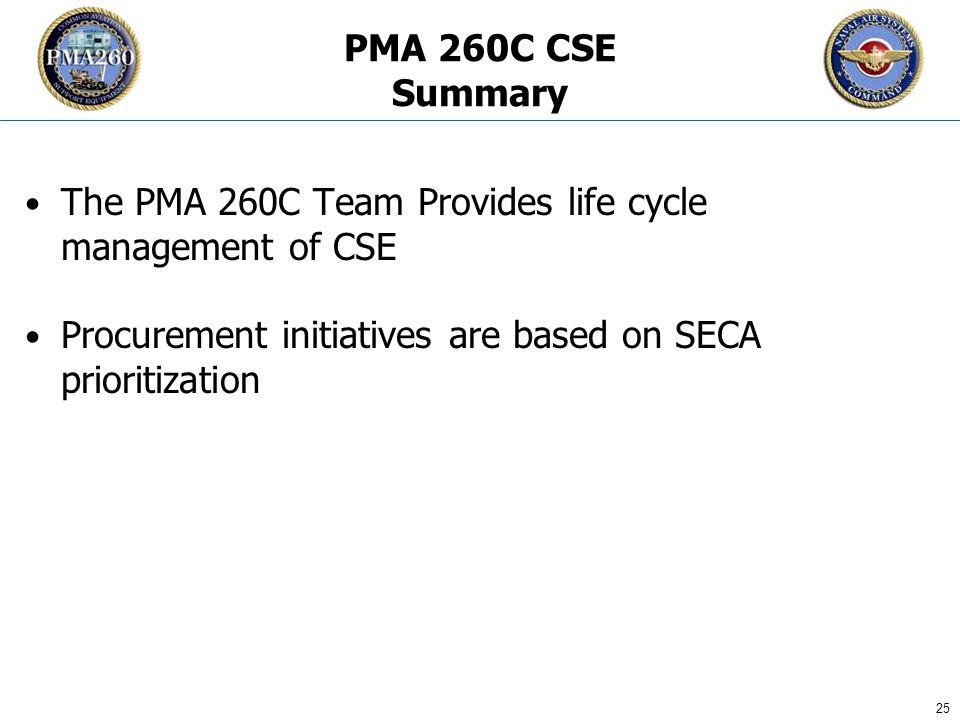 CFC_1106 25 PMA 260C CSE Summary The PMA 260C Team Provides life cycle management of CSE Procurement initiatives are based on SECA prioritization