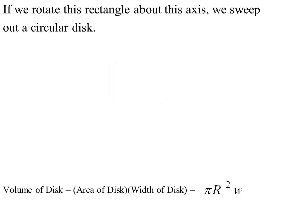 If we rotate this rectangle about this axis, we sweep out a circular disk. Volume of Disk = (Area of Disk)(Width of Disk) =