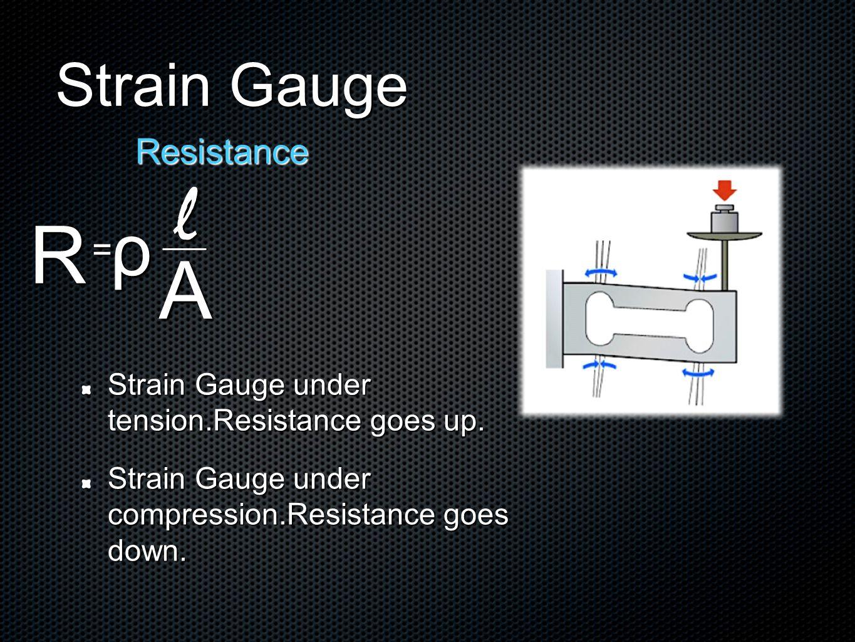 R Strain Gauge Resistance = ρ l A Strain Gauge under tension.Resistance goes up.