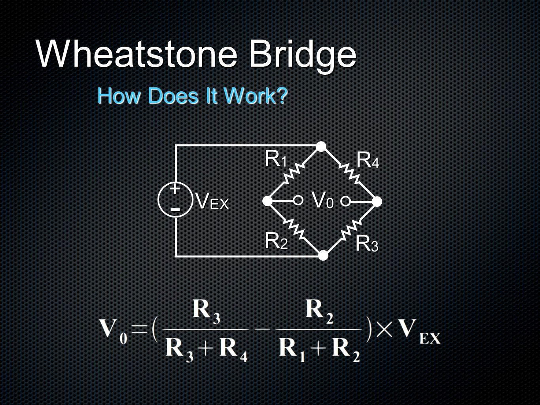 Wheatstone Bridge How Does It Work V0V0V0V0 V EX R4R4R4R4 R3R3R3R3 R2R2R2R2 R1R1R1R1 + -