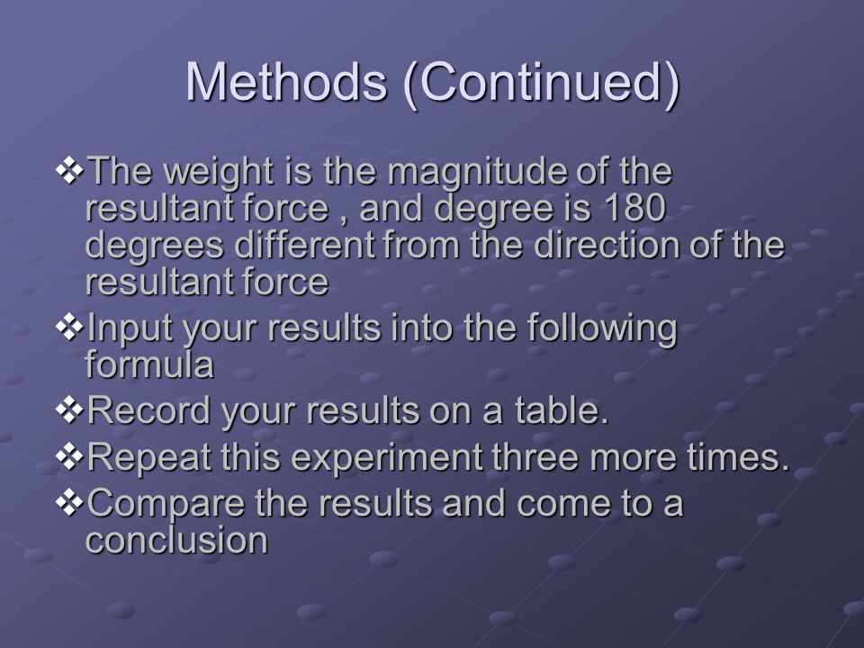 Methods (Continued)  The weight is the magnitude of the resultant force, and degree is 180 degrees different from the direction of the resultant force  Input your results into the following formula  Record your results on a table.