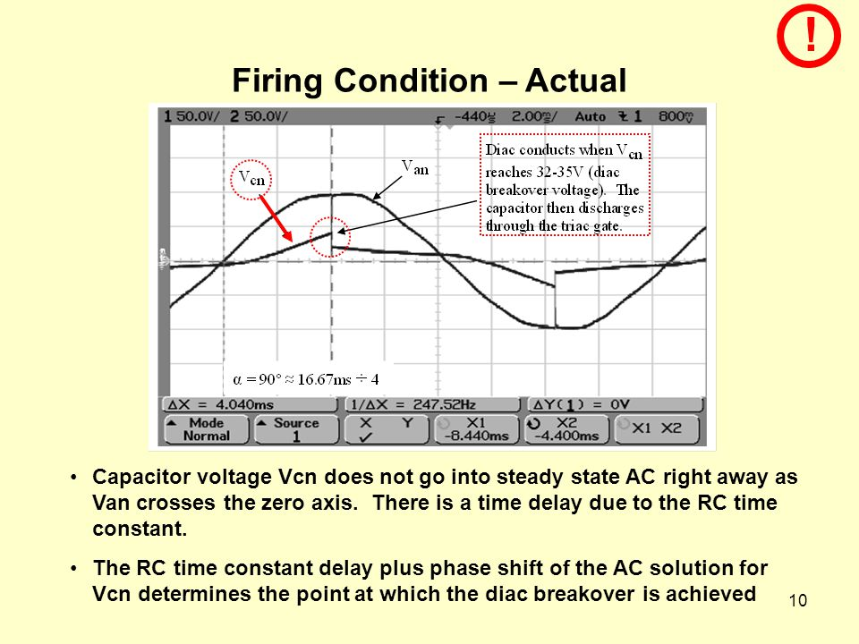 10 Firing Condition – Actual Capacitor voltage Vcn does not go into steady state AC right away as Van crosses the zero axis.
