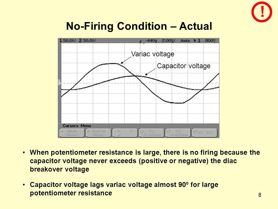 9 No-Firing Condition – Simulated (EE362L_Triac_Light_Dimmer.xls)