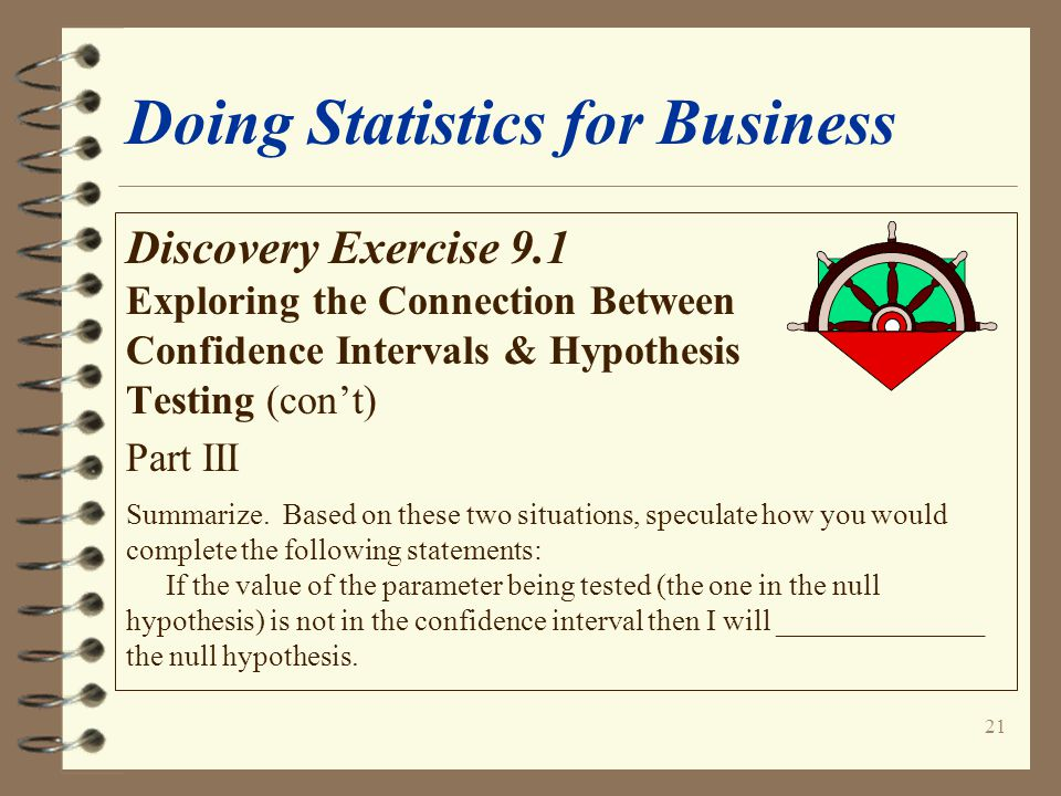 21 Doing Statistics for Business Discovery Exercise 9.1 Exploring the Connection Between Confidence Intervals & Hypothesis Testing (con't) Part III Summarize.