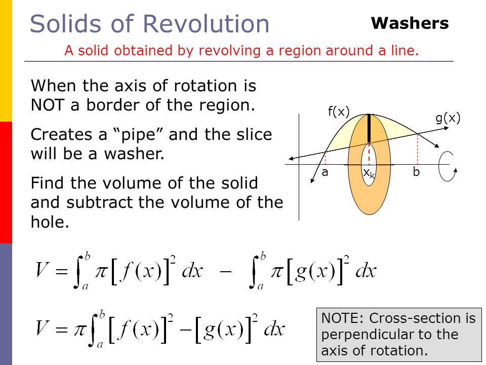 Solids of Revolution A solid obtained by revolving a region around a line.