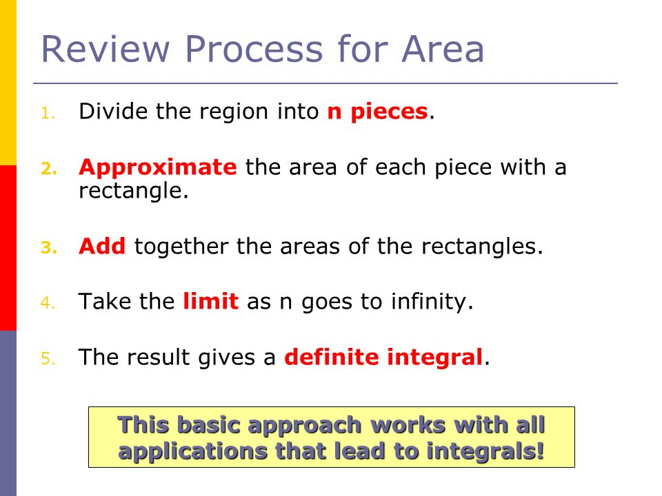Review Process for Area 1. Divide the region into n pieces.