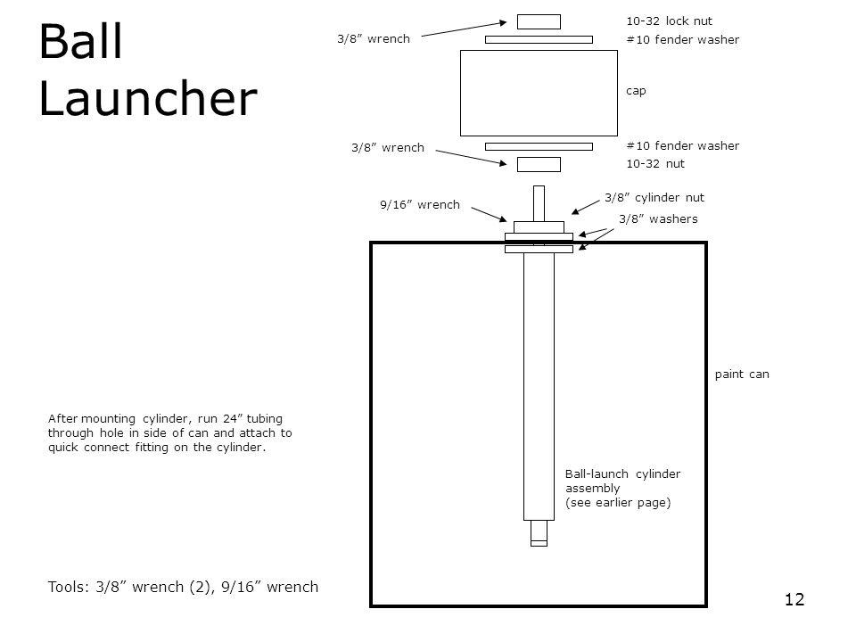 """12 Ball Launcher Ball-launch cylinder assembly (see earlier page) 10-32 nut cap After mounting cylinder, run 24"""" tubing through hole in side of can an"""