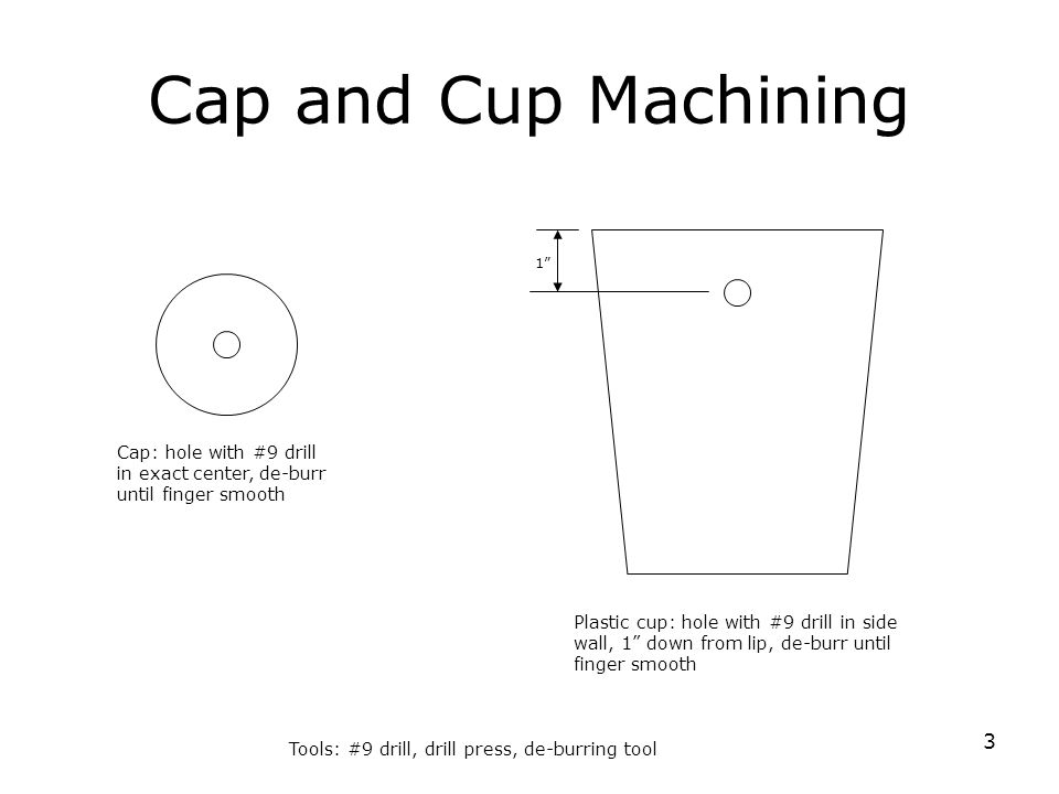 3 Cap and Cup Machining Cap: hole with #9 drill in exact center, de-burr until finger smooth Plastic cup: hole with #9 drill in side wall, 1 down from lip, de-burr until finger smooth Tools: #9 drill, drill press, de-burring tool 1
