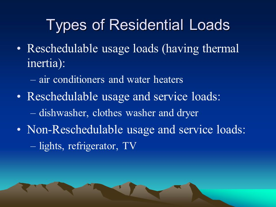 Types of Residential Loads Reschedulable usage loads (having thermal inertia): –air conditioners and water heaters Reschedulable usage and service loa