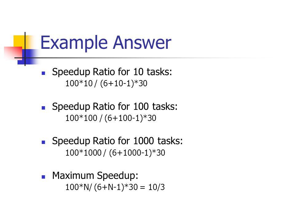 Example Answer Speedup Ratio for 10 tasks: 100*10 / (6+10-1)*30 Speedup Ratio for 100 tasks: 100*100 / (6+100-1)*30 Speedup Ratio for 1000 tasks: 100*