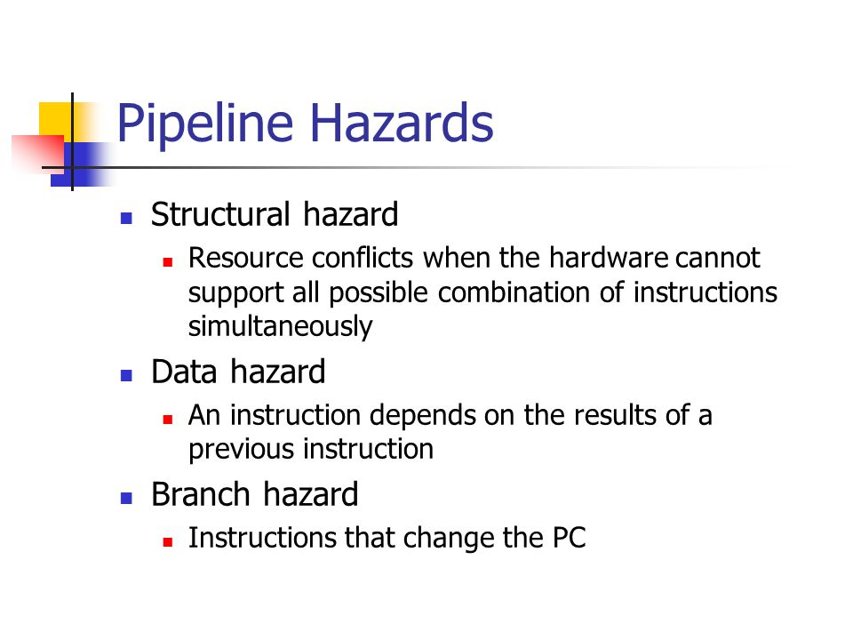 Pipeline Hazards Structural hazard Resource conflicts when the hardware cannot support all possible combination of instructions simultaneously Data ha