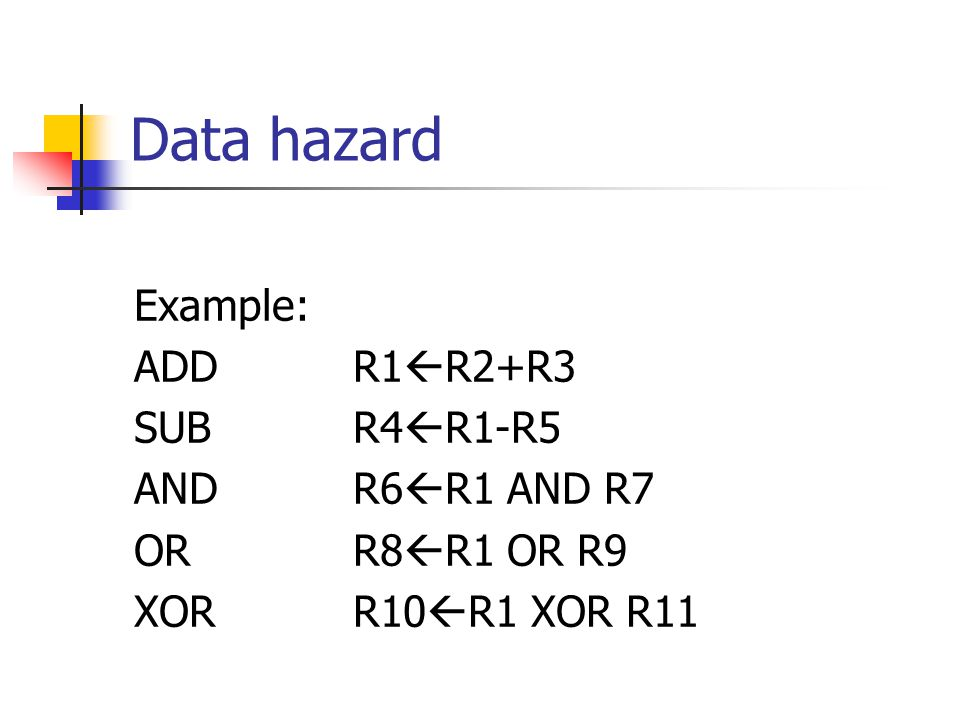 Data hazard Example: ADD R1  R2+R3 SUB R4  R1-R5 AND R6  R1 AND R7 OR R8  R1 OR R9 XOR R10  R1 XOR R11