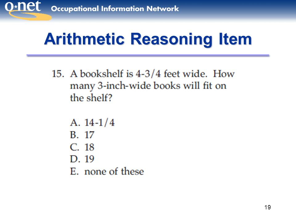 19 Arithmetic Reasoning Item