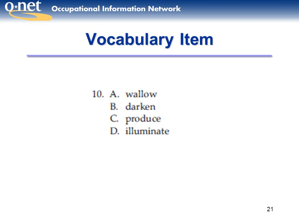 21 Vocabulary Item