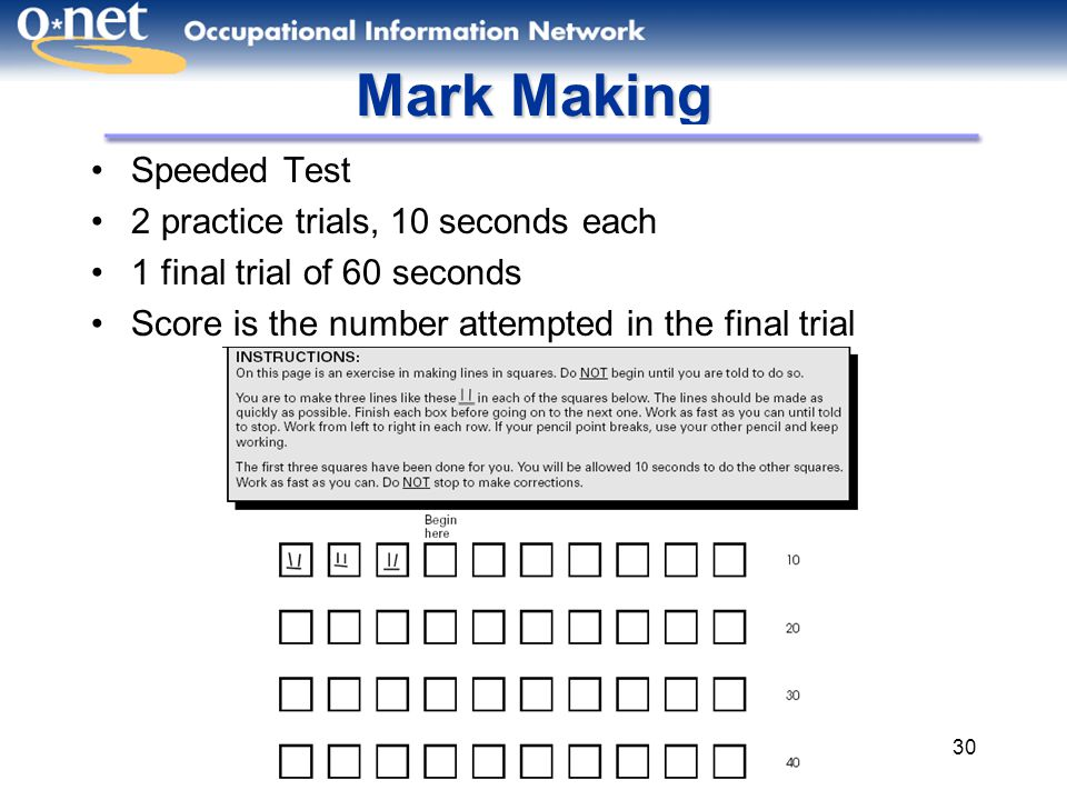 30 Mark Making Speeded Test 2 practice trials, 10 seconds each 1 final trial of 60 seconds Score is the number attempted in the final trial
