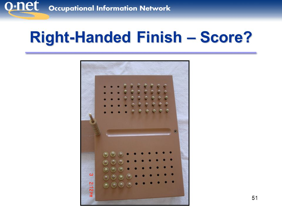 51 Right-Handed Finish – Score