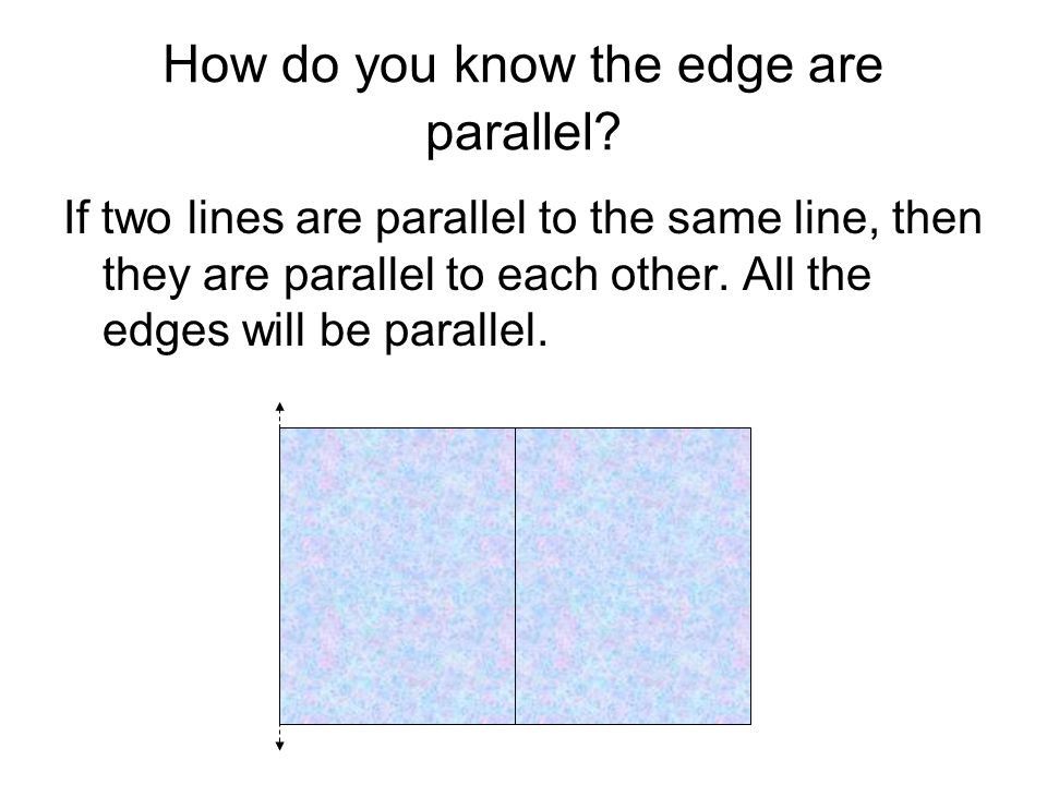 How do you know the edge are parallel? If two lines are parallel to the same line, then they are parallel to each other. All the edges will be paralle
