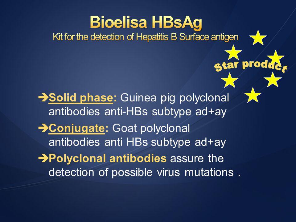èSolid phase: Guinea pig polyclonal antibodies anti-HBs subtype ad+ay èConjugate: Goat polyclonal antibodies anti HBs subtype ad+ay èPolyclonal antibo