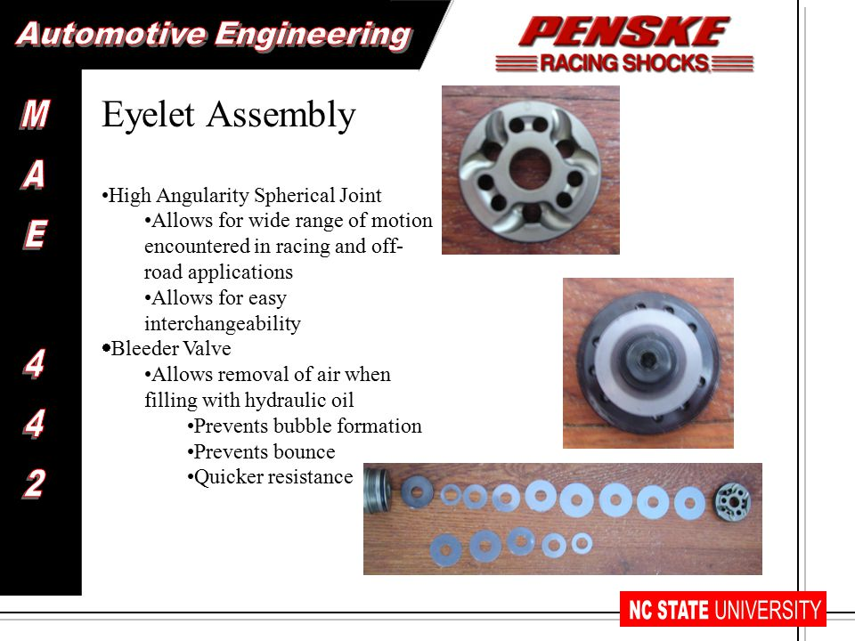 Eyelet Assembly High Angularity Spherical Joint Allows for wide range of motion encountered in racing and off- road applications Allows for easy interchangeability  Bleeder Valve Allows removal of air when filling with hydraulic oil Prevents bubble formation Prevents bounce Quicker resistance