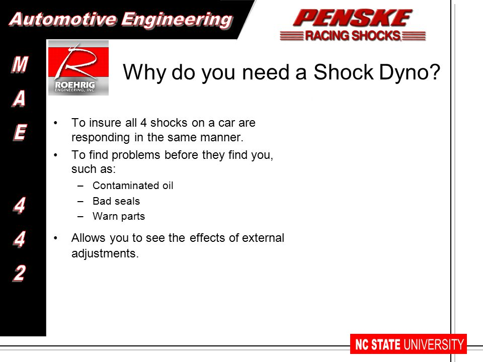Why do you need a Shock Dyno. To insure all 4 shocks on a car are responding in the same manner.