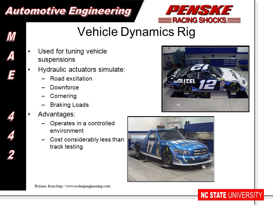 Vehicle Dynamics Rig Used for tuning vehicle suspensions Hydraulic actuators simulate: –Road excitation –Downforce –Cornering –Braking Loads Advantages: –Operates in a controlled environment –Cost considerably less than track testing Pictures from http://www.roehrigengineering.com/