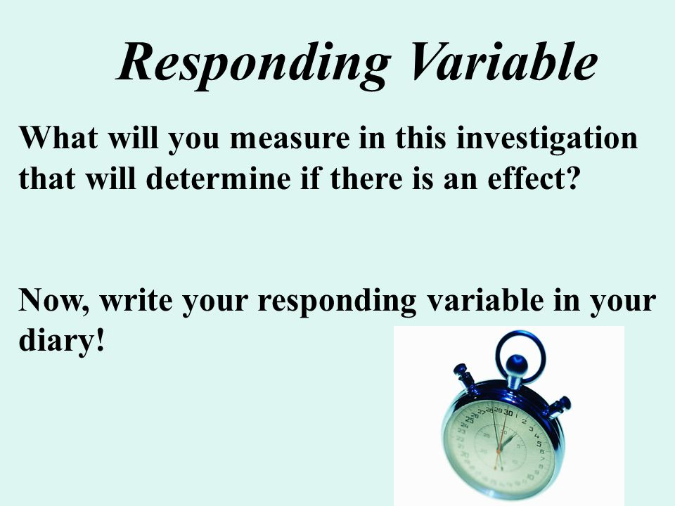 What will you measure in this investigation that will determine if there is an effect? Now, write your responding variable in your diary! Responding V