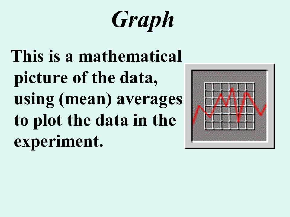 Graph This is a mathematical picture of the data, using (mean) averages to plot the data in the experiment.