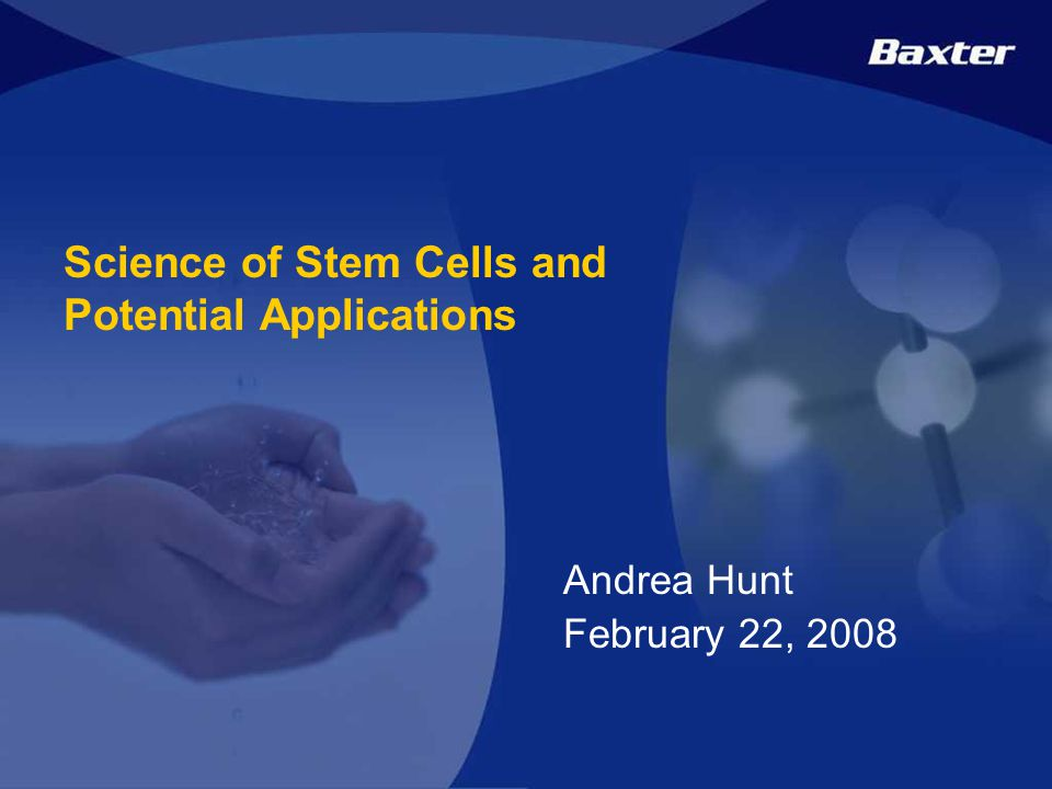 1 Confidential Science of Stem Cells and Potential Applications Andrea Hunt February 22, 2008