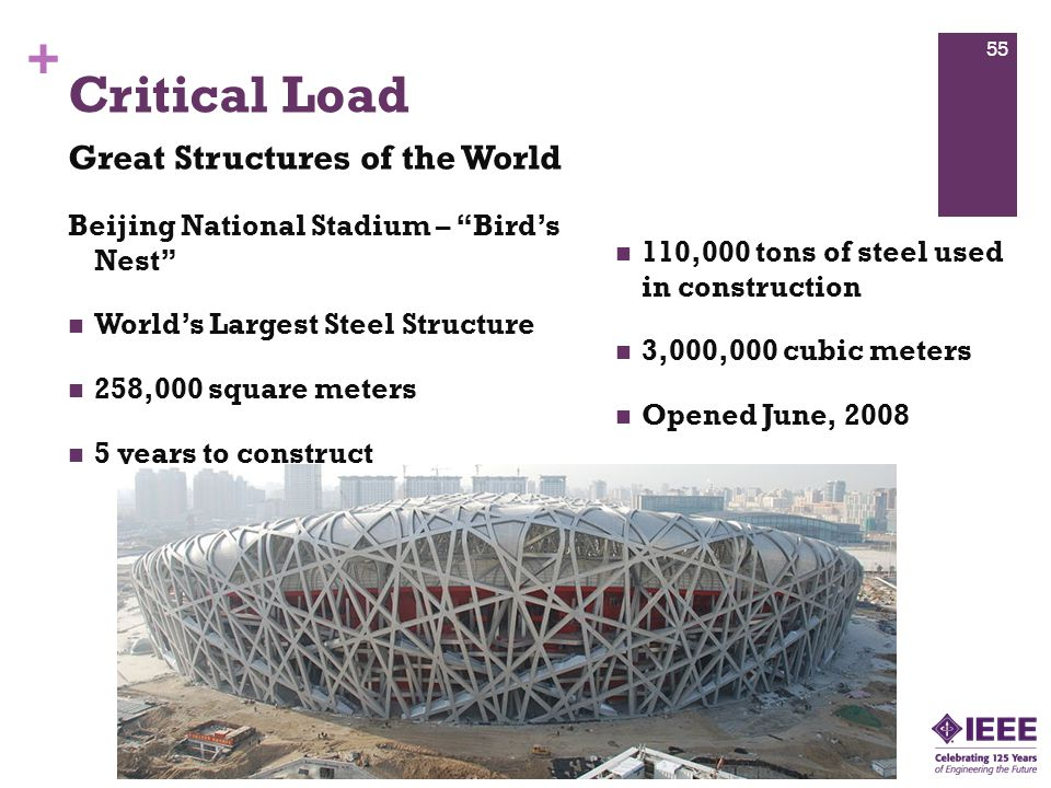+ Beijing National Stadium – Bird's Nest World's Largest Steel Structure 258,000 square meters 5 years to construct 110,000 tons of steel used in construction 3,000,000 cubic meters Opened June, 2008 Critical Load Great Structures of the World 55