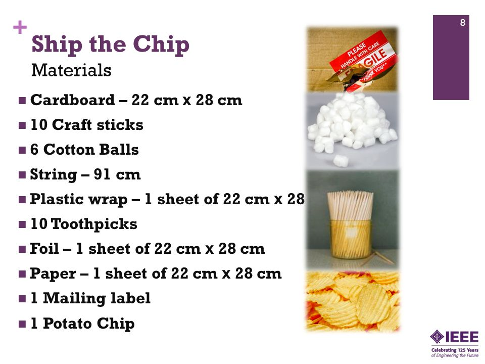 + Ship the Chip Cardboard – 22 cm x 28 cm 10 Craft sticks 6 Cotton Balls String – 91 cm Plastic wrap – 1 sheet of 22 cm x 28 cm 10 Toothpicks Foil – 1 sheet of 22 cm x 28 cm Paper – 1 sheet of 22 cm x 28 cm 1 Mailing label 1 Potato Chip 8 Materials