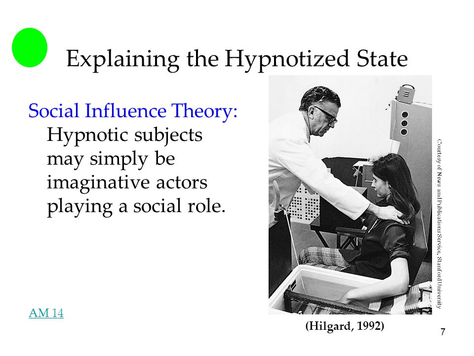 7 Explaining the Hypnotized State Social Influence Theory: Hypnotic subjects may simply be imaginative actors playing a social role.