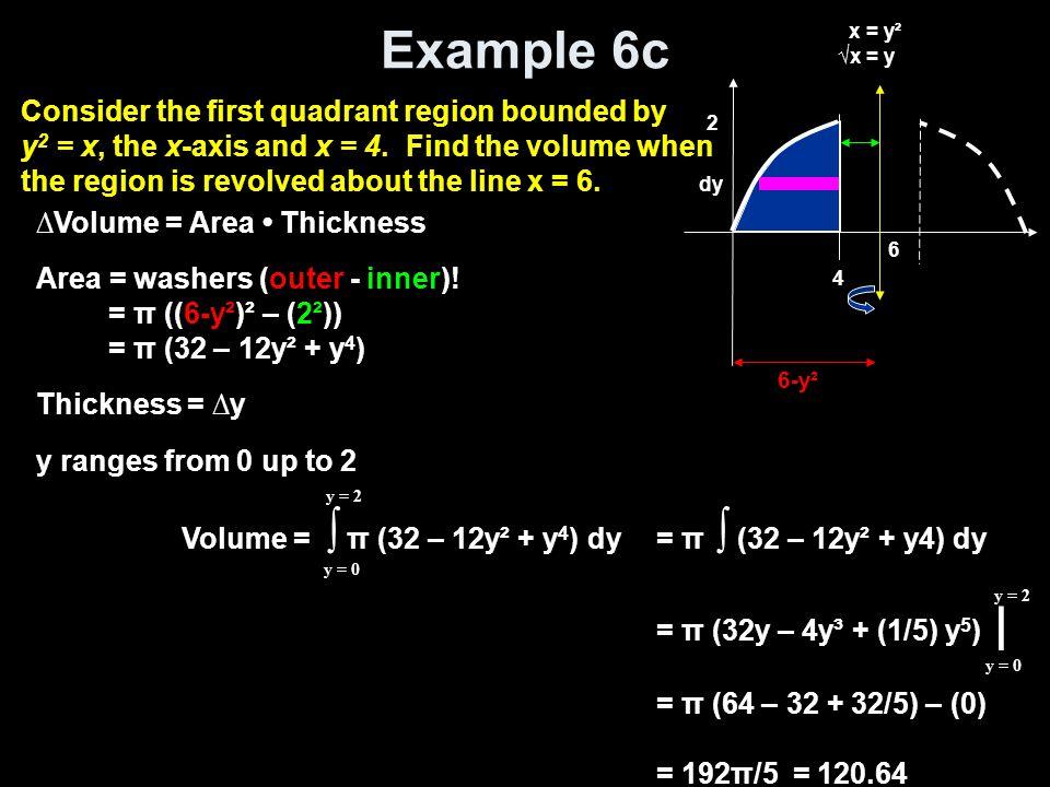 Example 6c Volume = ∫ π (32 – 12y² + y 4 ) dy y = 0 y = 2 = π ∫ (32 – 12y² + y4) dy = π (32y – 4y³ + (1/5) y 5 ) | = π (64 – 32 + 32/5) – (0) = 192π/5 = 120.64 y = 0 y = 2 ∆Volume = Area Thickness Area = washers (outer - inner).