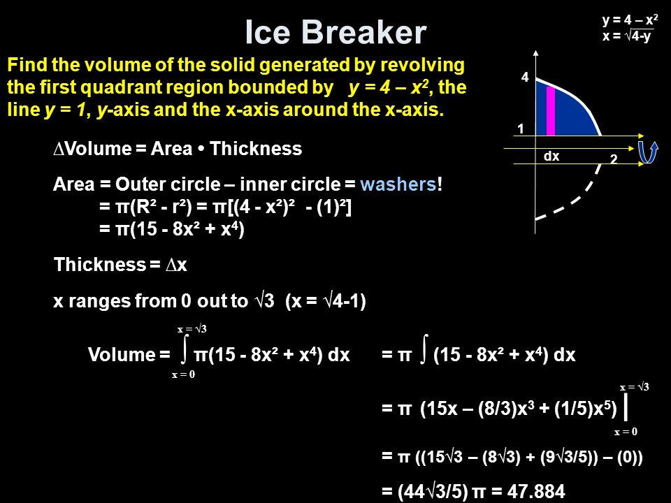 Ice Breaker Volume = ∫ π(15 - 8x² + x 4 ) dx x = 0 x = √3 = π ∫ (15 - 8x² + x 4 ) dx = π (15x – (8/3)x 3 + (1/5)x 5 ) | = π ((15√3 – (8√3) + (9√3/5))