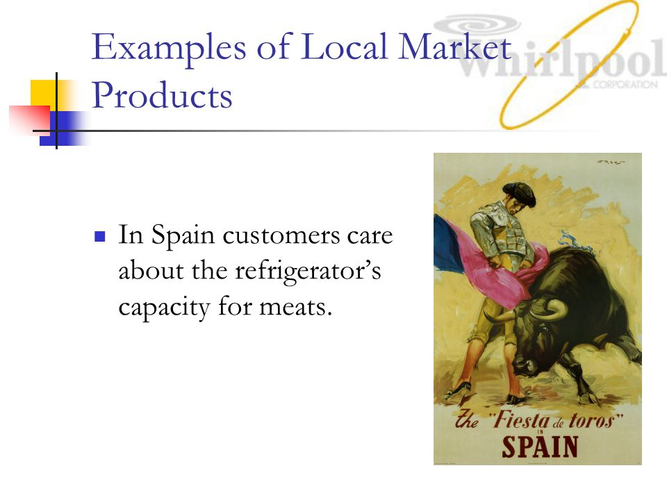 Examples of Local Market Products In Spain customers care about the refrigerator's capacity for meats.