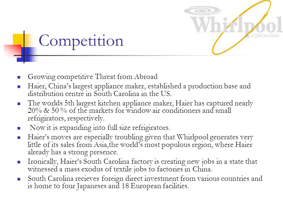Competition Growing competitive Threat from Abroad Haier, China's largest appliance maker, established a production base and distribution centre in South Carolina in the US.
