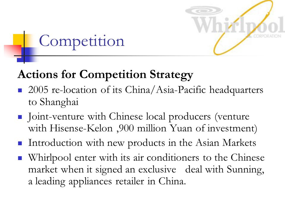 Competition Actions for Competition Strategy 2005 re-location of its China/Asia-Pacific headquarters to Shanghai Joint-venture with Chinese local producers (venture with Hisense-Kelon,900 million Yuan of investment) Introduction with new products in the Asian Markets Whirlpool enter with its air conditioners to the Chinese market when it signed an exclusive deal with Sunning, a leading appliances retailer in China.