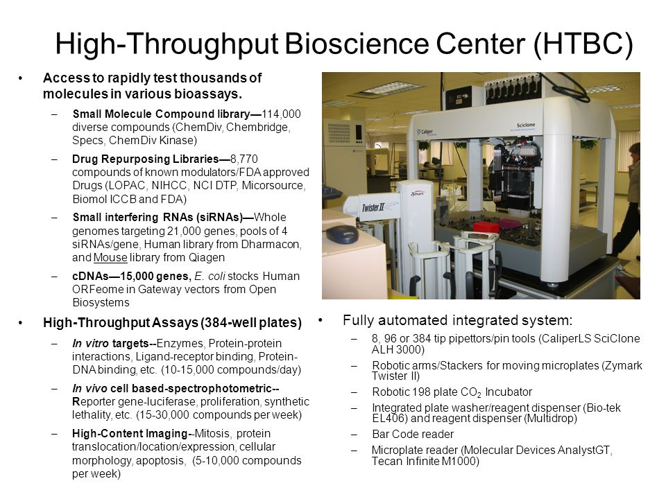 High-Throughput Bioscience Center (HTBC) Fully automated integrated system: –8, 96 or 384 tip pipettors/pin tools (CaliperLS SciClone ALH 3000) –Robotic arms/Stackers for moving microplates (Zymark Twister II) –Robotic 198 plate CO 2 Incubator –Integrated plate washer/reagent dispenser (Bio-tek EL406) and reagent dispenser (Multidrop) –Bar Code reader –Microplate reader (Molecular Devices AnalystGT, Tecan Infinite M1000) Access to rapidly test thousands of molecules in various bioassays.