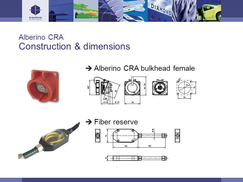 © DIAMOND SA / 11-06 / 11 Alberino CRA Construction & dimensions  Alberino CRA bulkhead female  Fiber reserve