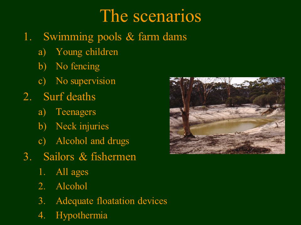 The scenarios 1.Swimming pools & farm dams a)Young children b)No fencing c)No supervision 2.Surf deaths a)Teenagers b)Neck injuries c)Alcohol and drugs 3.Sailors & fishermen 1.All ages 2.Alcohol 3.Adequate floatation devices 4.Hypothermia