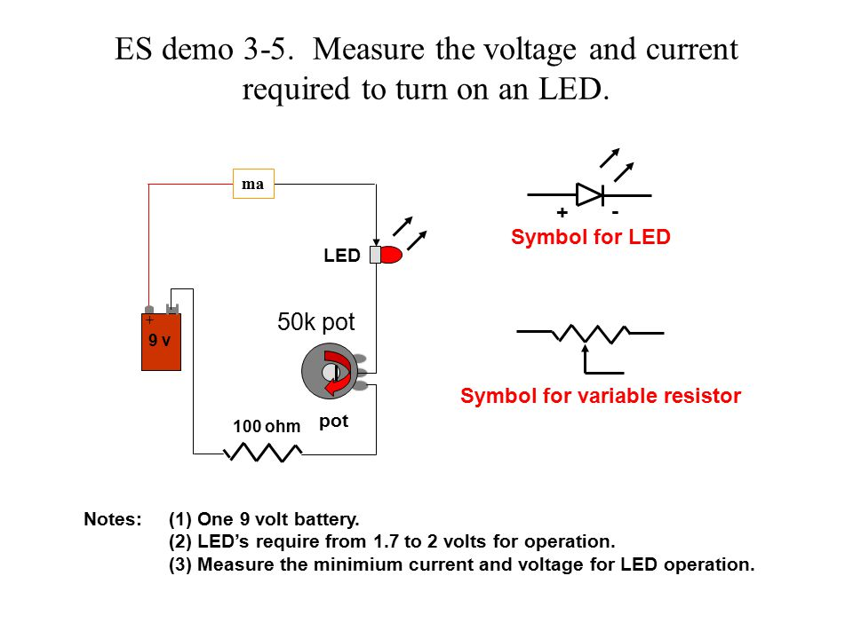 Symbol for LED ES demo 3-5. Measure the voltage and current required to turn on an LED.