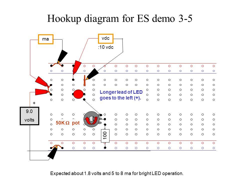 Hookup diagram for ES demo 3-5 :10 vdc Longer lead of LED goes to the left (+).