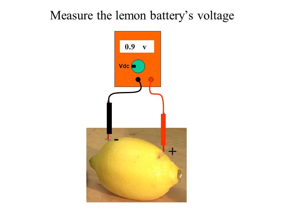 Measure the lemon battery's voltage 0.9 v Vdc + -