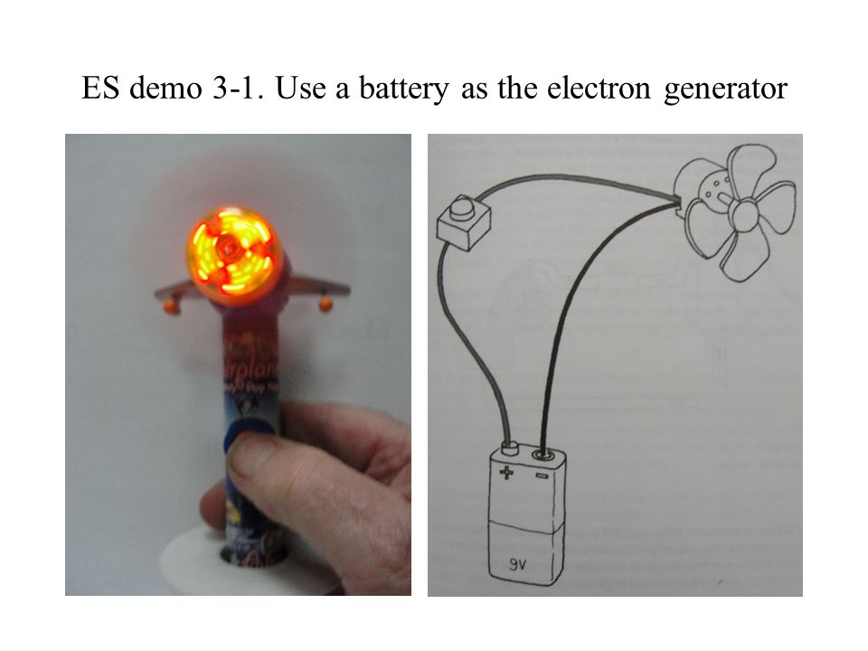 ES demo 3-1. Use a battery as the electron generator