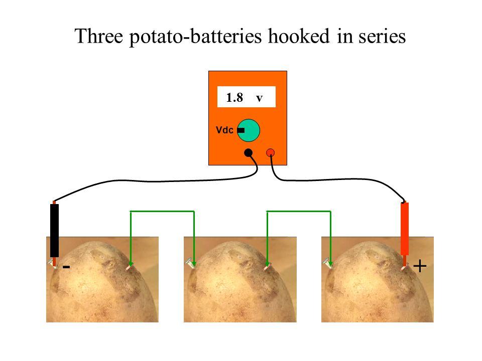 + - Three potato-batteries hooked in series 1.8 v Vdc