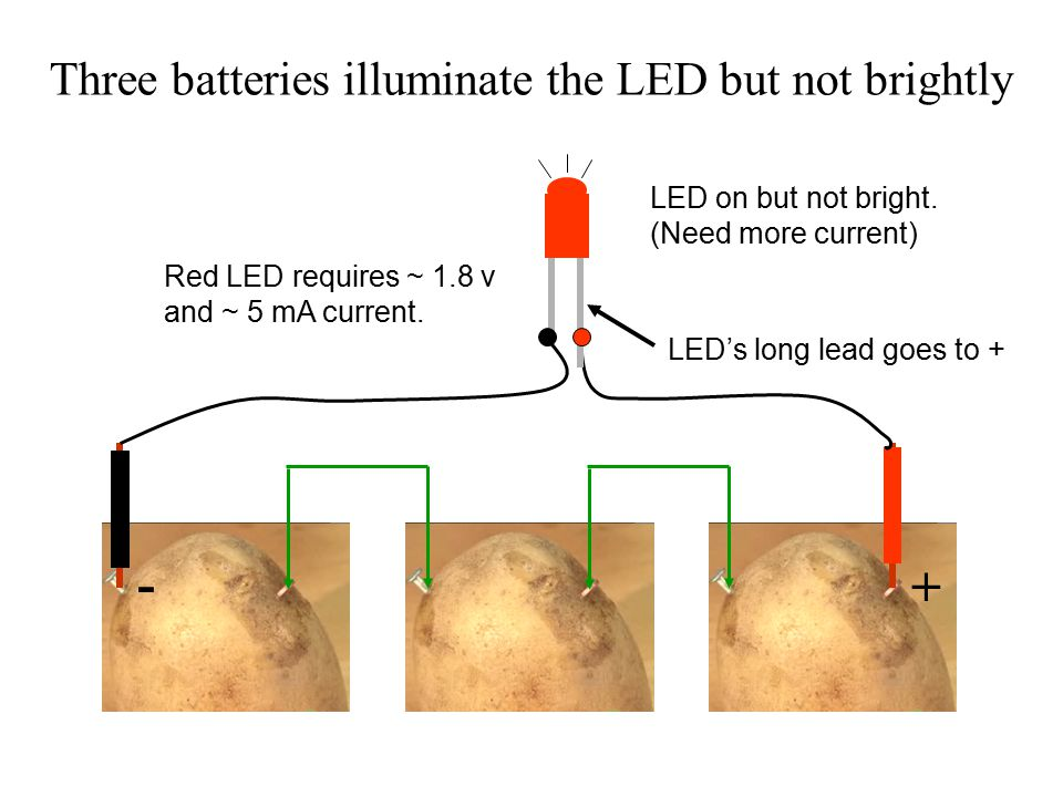 Three batteries illuminate the LED but not brightly + - Red LED requires ~ 1.8 v and ~ 5 mA current.