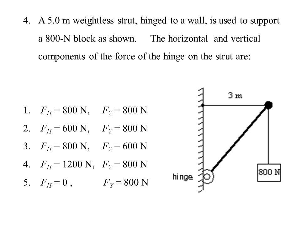 Using hinge as pivot :  1.F H = 800 N, F Y = 800 N 2.