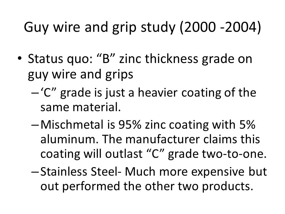 Guy wire and grip study (2000 -2004) Status quo: B zinc thickness grade on guy wire and grips – 'C grade is just a heavier coating of the same material.