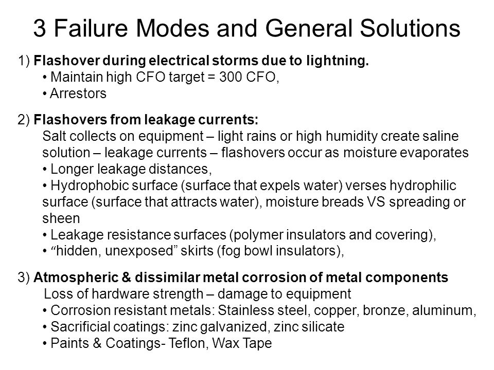 3 Failure Modes and General Solutions 1) Flashover during electrical storms due to lightning.