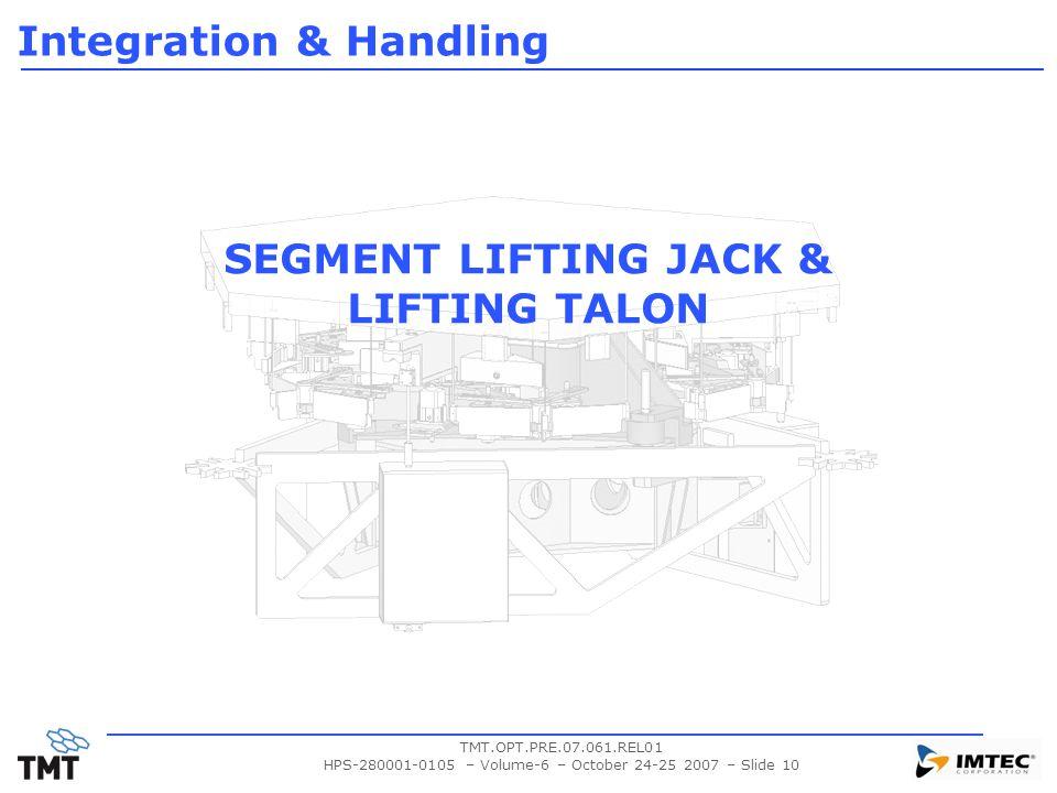 TMT.OPT.PRE.07.061.REL01 HPS-280001-0105 – Volume-6 – October 24-25 2007 – Slide 10 SEGMENT LIFTING JACK & LIFTING TALON Integration & Handling